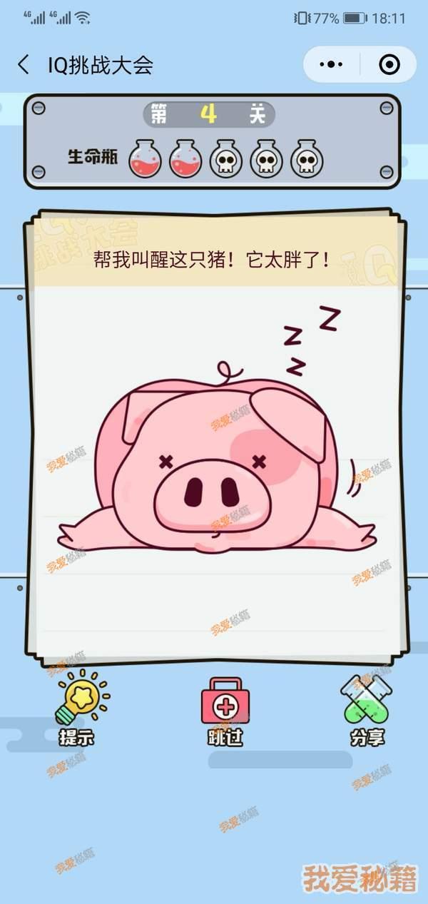 微信IQ挑戰大會第4關攻略_幫我叫醒這只豬!它太胖了![圖]